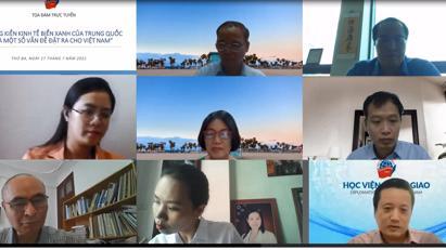 """Tọa đàm trực tuyến """"Sáng kiến kinh tế biển xanh của Trung Quốc và một số vấn đề đặt ra cho Việt Nam"""""""