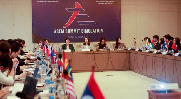 Mô phỏng Hội nghị Cấp cao ASEM: Trải nghiệm thực tế với cán bộ trẻ và sinh viên Ngoại giao về hoạt động đối ngoại đa phương